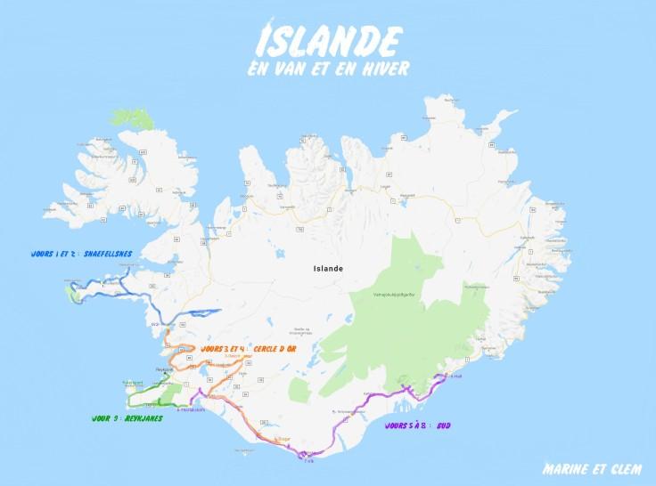 Itinéraire Islande Marine et Clem